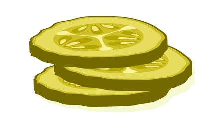 Pickled cucumber slice isolated on white background. Marinated pickled cucumber isolated. Vector Illustration