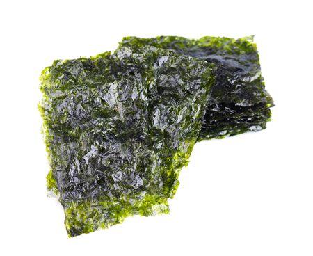 Crispy nori seaweed isolated on white background. Japanese food nori. Dry seaweed sheets. Stock fotó