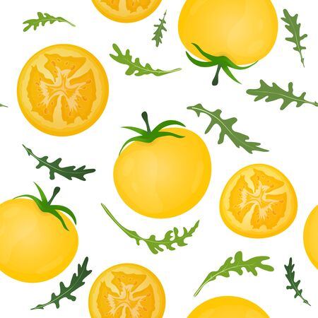 Yellow tomatoes on white background. Tomato vegetable with arugula leaves. Vector illustration. Seamless pattern