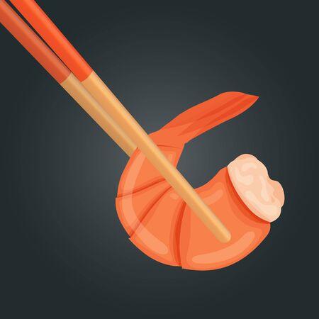 Boiled shrimp in chopsticks. Cooked tiger prawn. Shrimp isolated on dark background. Vector illustration  イラスト・ベクター素材