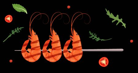 Grilled shrimp skewers. Tasty fresh cooked fried shrimps dish with chilli pepper. Sea food nutrition concept. Vector illustration