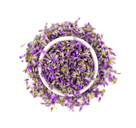 Lavender flowers, isolated on white background. Petals of lavender flowers. Medicinal herbs. Top view