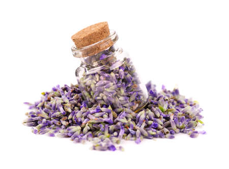 Lavender flowers in a glass jar, isolated on white background. Petals of lavender flowers. Medicinal herbs