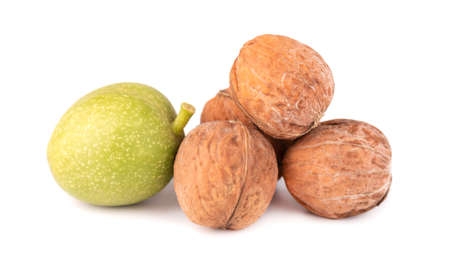 Green walnut, isolated on white background. Peeled walnut and kernels. Walnuts branch.