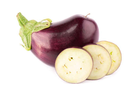 Eggplant isolated on white background. Fresh sliced eggplant or aubergine vegetable