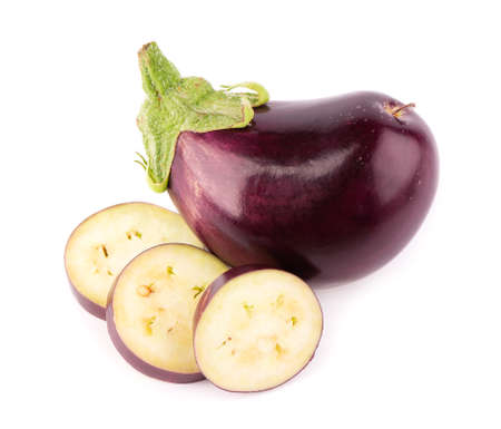 Eggplant isolated on white background. Fresh sliced eggplant or aubergine vegetable.