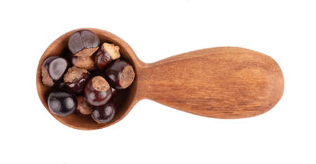 Guarana seed in wooden spoon, isolated on white background. Dietary supplement guarana, caffeine cource for energy drinks. Top view.