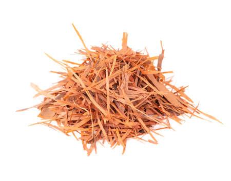 Lapacho herbal tea, isolated on white background. Natural Taheeboo dry tea. Pau darco herb. Tabebuia heptophylla.