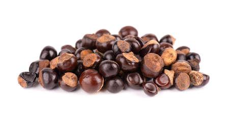Guarana seed isolated on white background. Dietary supplement guarana, caffeine cource for energy drinks. Paullinia cupana.