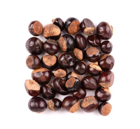 Guarana seed isolated on white background. Dietary supplement guarana, caffeine cource for energy drinks. Paullinia cupana. Top view. 版權商用圖片