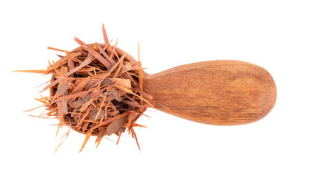 Lapacho herbal tea in wooden spoon, isolated on white background. Natural Taheeboo dry tea. Pau darco herb. Tabebuia heptophylla. Top view.
