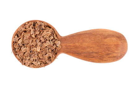 Dill seeds in wooden spoon, isolated on white background. Natural dry dill seeds. Anethum graveolens. Top view.