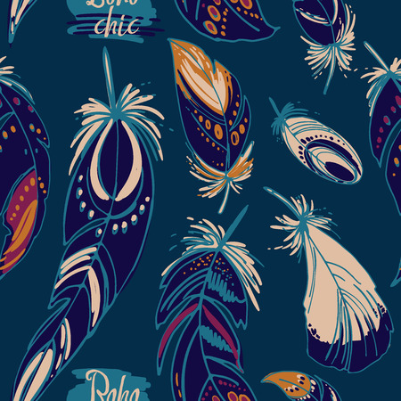beads: Pattern feathers and beads. Native american indian dream catcher, traditional symbol. Feathers and beads on color background. Vector decorative elements hippie.