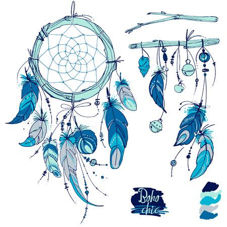 El cazador de sueños, Conjunto de adornos, plumas y cuentas. Nativo americano colector ideal indio, símbolo tradicional. Plumas y perlas sobre fondo blanco.