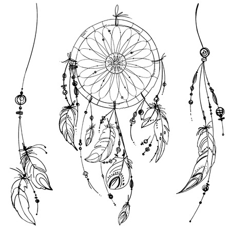 Dreamcatcher Set Of Ornaments Feathers And Beads Native American
