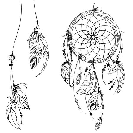 El cazador de sueños, Conjunto de adornos, plumas y cuentas. Nativo americano colector ideal indio, símbolo tradicional. Plumas y perlas sobre fondo blanco. Vector de elementos decorativos hippie.