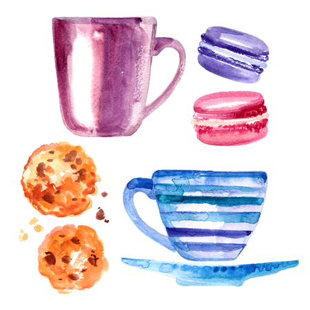 Cup of coffee, cup of tea painted with watercolors on white back