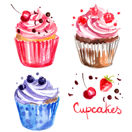 Cupcakes painted with watercolors on white background
