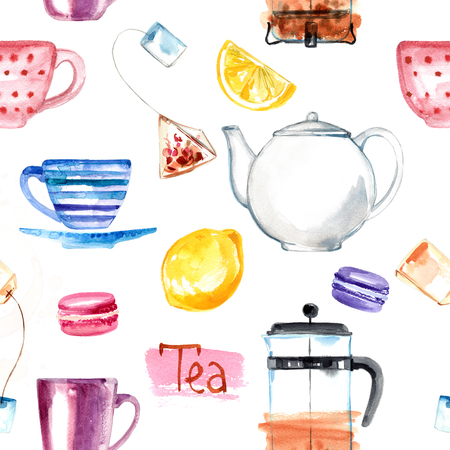 Pattern Tea painted with watercolors on white background