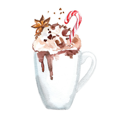 Cocoa mug painted with watercolors on white background Stockfoto - 102054177