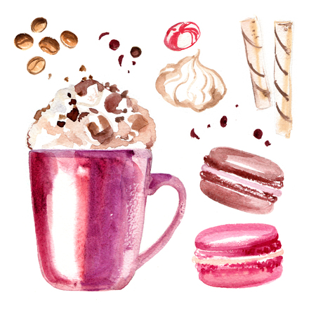 Cocoa mug painted with watercolors on white background
