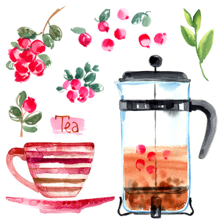 Tea painted with watercolors on white background Reklamní fotografie