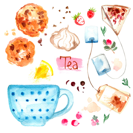 Tea painted with watercolors on white background Stock Photo