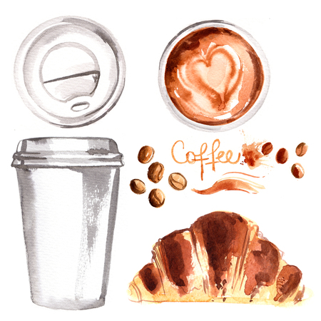 Coffee to go a paper cup painted with watercolors on white backg Stock Photo