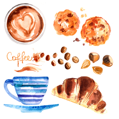 Coffee cup painted with watercolors on white background Stockfoto - 102054184