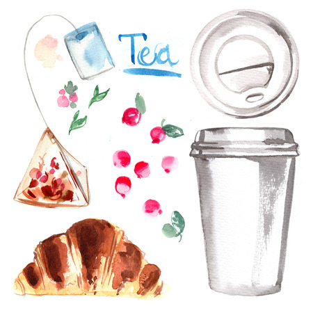 Tea a paper cup painted with watercolors on white background. Sketch of food colors. Fast food, tea, breakfast Stock Photo