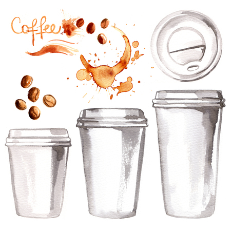 Coffee to go a paper cup painted with watercolors on white background. Sketch of food colors. Fast food, coffee, tea, breakfast