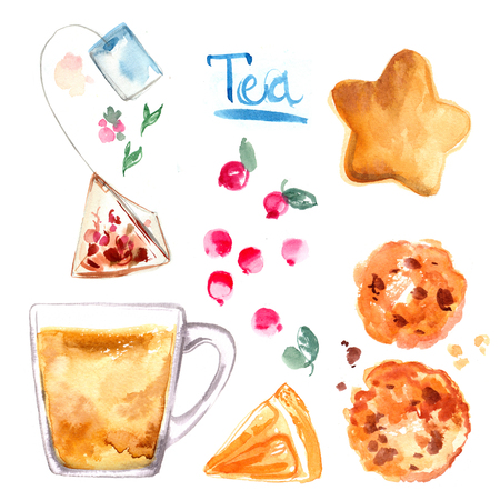 Tea painted with watercolors on white background. Figure ink on paper. Winter drink, glass cup, cookies, berries, spices Stockfoto - 102054187