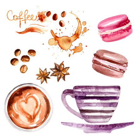 Coffee cup painted with watercolors on white background. The drink and sweets. Abstract watercolor spots, traces of coffee. Coffee beans.