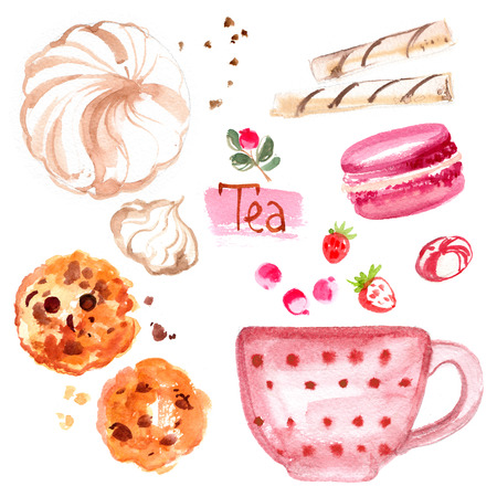 Tea painted with watercolors on white background. Figure ink on paper. Tea chanik, a cup, a bag of berries, marshmallows, cookies with chocolate Stockfoto - 102054191