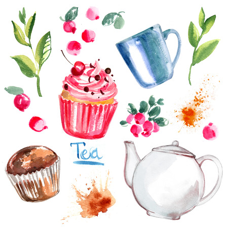 Tea painted with watercolors on white background. Figure ink on paper. Tea chanik, a cup, a bag of berries. Stock Photo