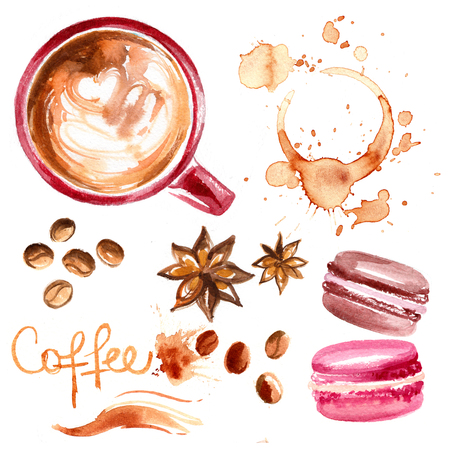 Coffee cup painted with watercolors on white background. The drink and sweets. Abstract watercolor spots, traces of coffee. Coffee beans. Cakes macaron.