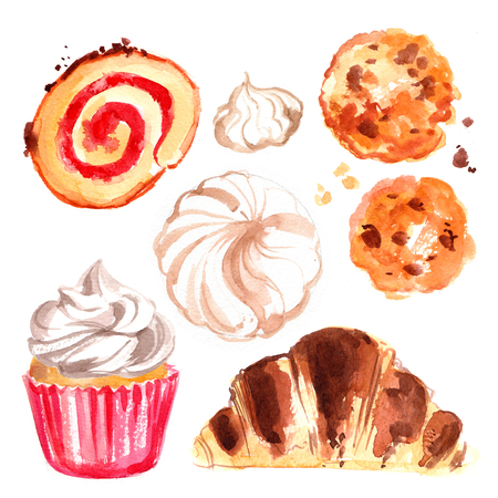 A set of candy-painted with watercolors on white background. Croissants, cakes, rolls, cupcakes, cookies, chocolate, marshmallows. Stock Photo
