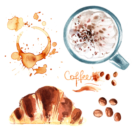 Coffee cup painted with watercolors on white background. The drink and sweets. Abstract watercolor spots, traces of coffee. Coffee beans. Croissant