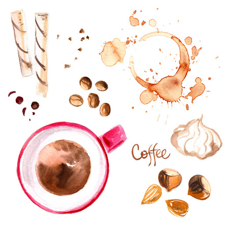 Coffee cup painted with watercolors on white background. The drink and sweets Stock Photo