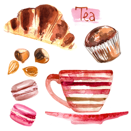 Cup of tea painted with watercolors on white background. The drink and sweets. Abstract watercolor spots, traces of coffee. Coffee beans. Croissant