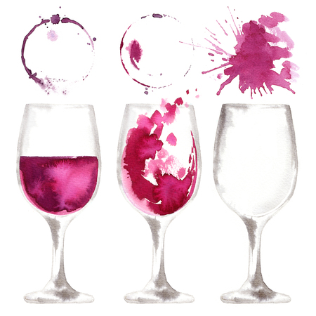 Wine glass painted with watercolors on white background. Study of a wine glass. Red wine. Abstract marks and stains on the glass. Marsala color Stockfoto - 102055214