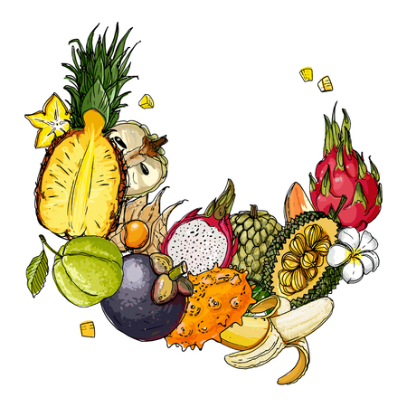 Fruits drawn by a line on a white background Stockfoto - 102055220