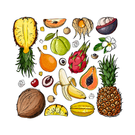 Exotic fruits on a white background in a square