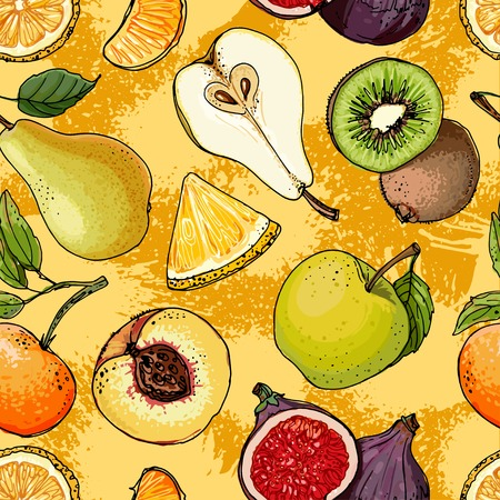 Fruits drawn a color line on a color background Vettoriali