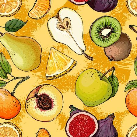 Fruits drawn a color line on a color background Illustration
