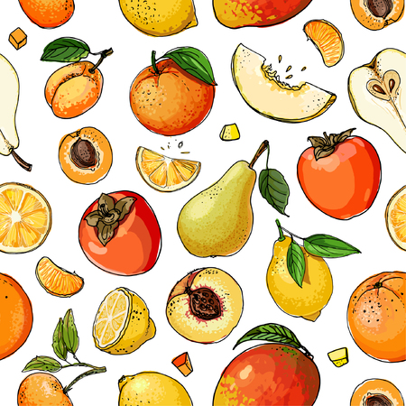 Pattern of painted colored fruit Ilustracja