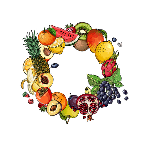 A circle of fruits