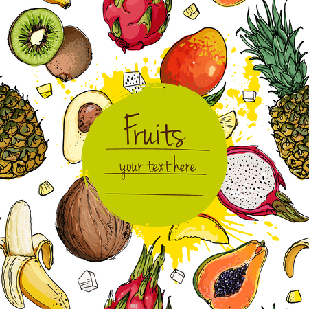 Pineapple, avocado, papaya, apricot,grape, pitahaya line