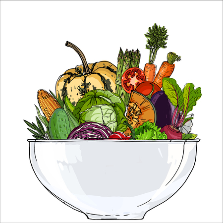 Vegetables in a bowl Иллюстрация