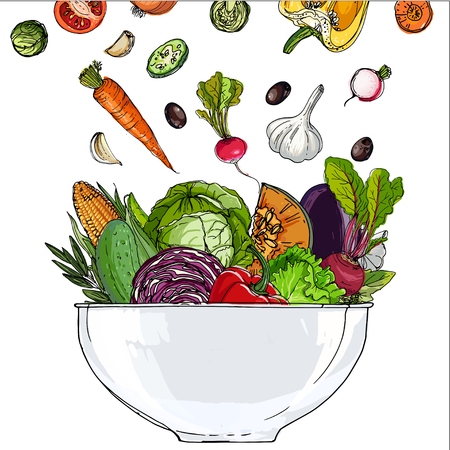 Vegetables in a bowl Stock Illustratie